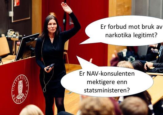 Bildet viser emneansvarlig Marit Skivenes og tekst med spørsmål som vil være relevant for kurset.