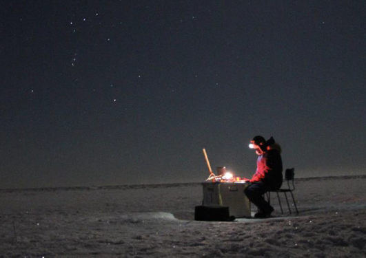 Researcher working in the Arctic