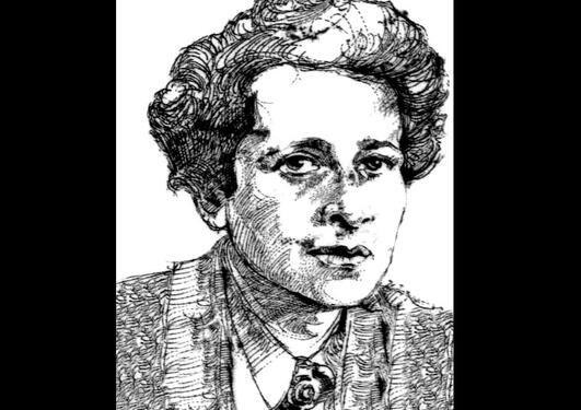 Tegning basert på bilde av Hannah Arendt