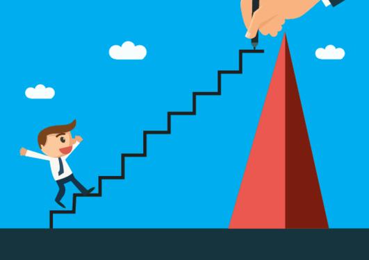 Illustrasjon av et menneske som går opp en trapp