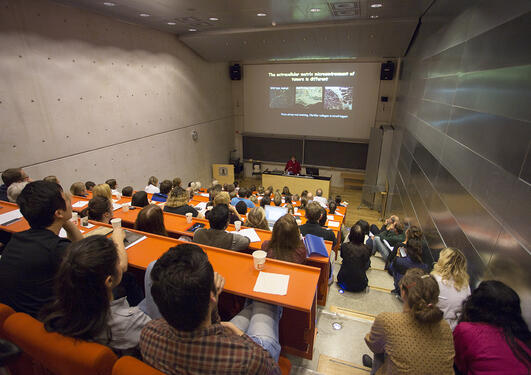 Photo from a packed auditorium at Zena Werb's lecture 02.10.14