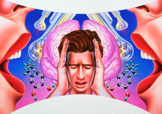 Tegning av en som holder seg for hodet med skrikende stemmer rundt seg.