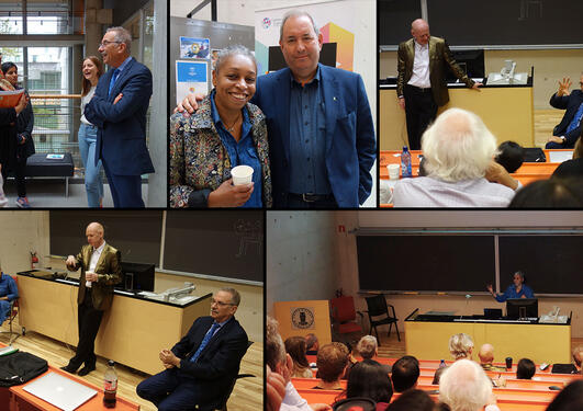 Collage of photos from the CCBIO Excellence seminar september 2018, people in different settings.