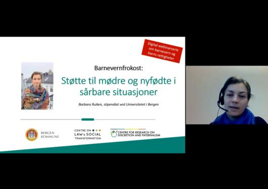 Stipendiat BArbara Ruiken holder foredrag på støtte til mødre og nyfødte i sårbare situasjoner