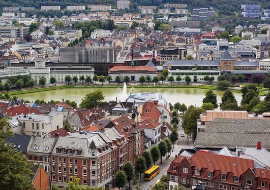 Photo of part of Bergen with Lille Lungegaardsvann