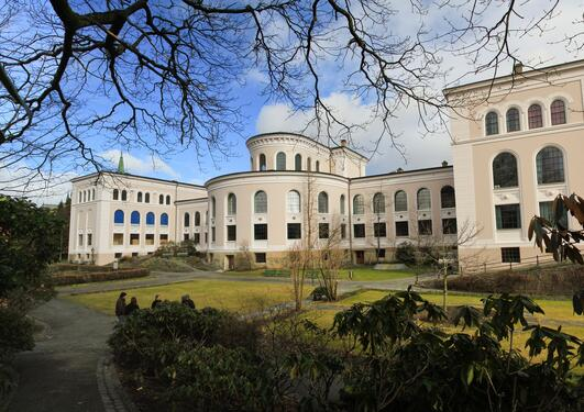 The University Museum of Bergen pictured slightly obscured by branches from surrounding trees.