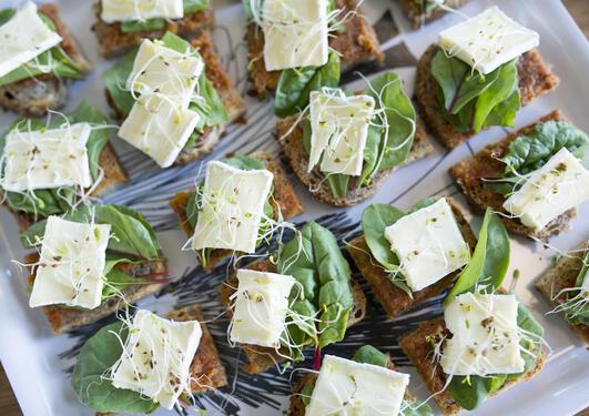 snitter på fat med ost og grønt