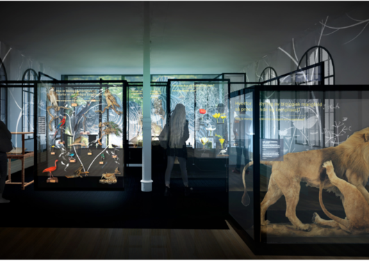 Skisse av utstilling som viser montre med livetstre, løver og mennsker i utstilling