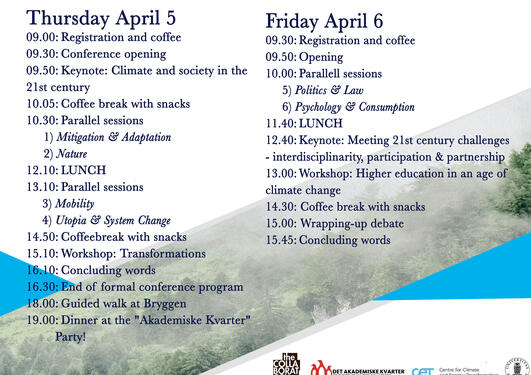 Conference program for Bergen International Student Conference 2018