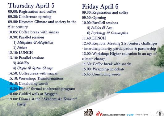 Conference program for Bergen International Student Conference 2018