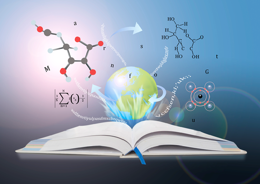 Book of Knowledge with chemical forms and mathematical equations
