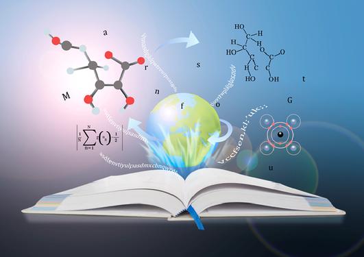 Kunnskapsbok med svevende kjemiske formler og matematiske ligninger
