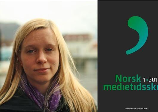 Forskeren Brita Ytre-Arne og forsiden til det ferske nummeret av Norsk medietidsskrift