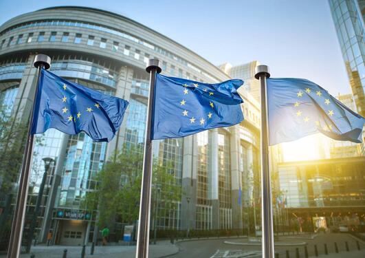 Bygning i Brussel, 3 stk EU-flagget i solen