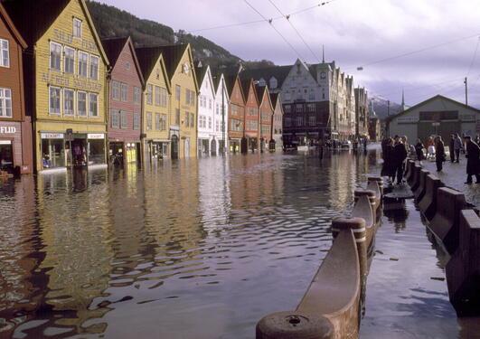 Oversvømmelse på Bryggen i Bergen