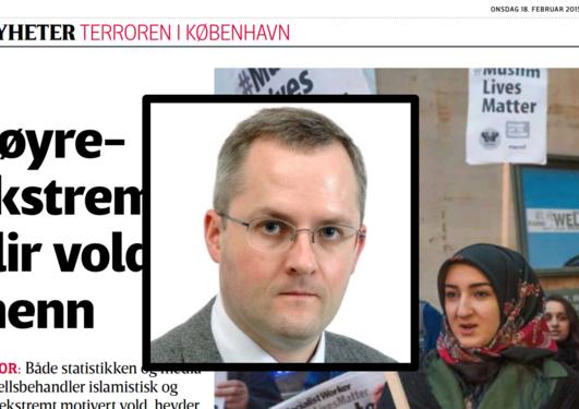 Det er en ensidig oppmerksomhet om islamistisk terrorisme, seier førsteamanuensis Jan Oskar Engene i Vårt land-artikkelen 18. februar.