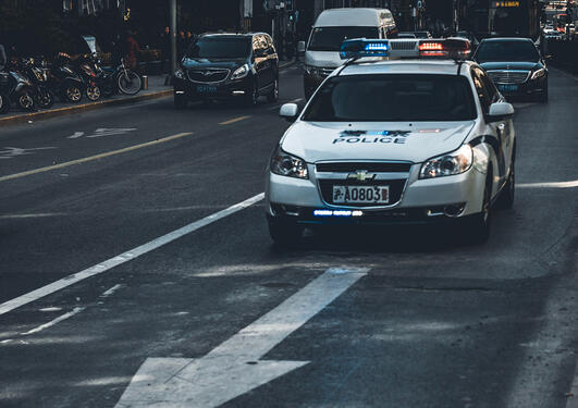 Police car in Shanghai streets