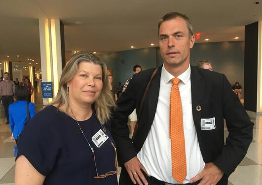 Climate researchers Tore Furevik and Kikki Kleiven just after High-level Political Forum plenary session on climate action on 12 July 2019.