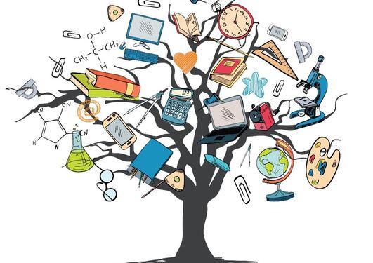 Bilde av et tre med masse undervisningsmateriell