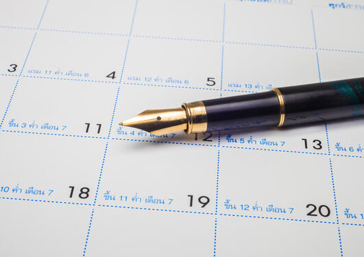 Fountain pen and calendar illustration