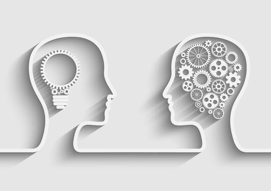 Illustrasjon av to hoder