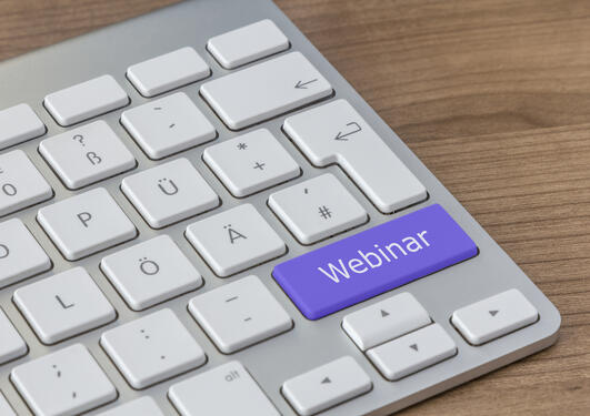 Keyboard - word Webinar written on one key