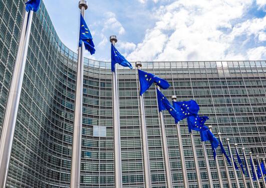 EU-flagg vaier i vinden i EU-kvartalet i Brussel