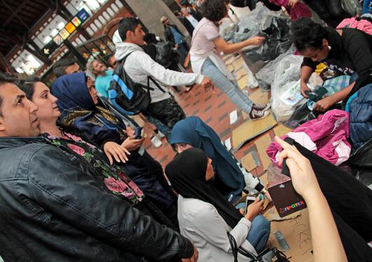 Flyktninger ankommer København.
