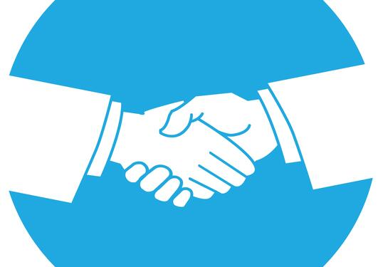 Graphic illustration of a handshake.