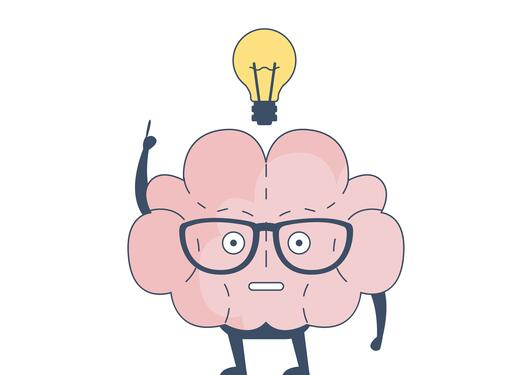Picture of a brain getting an idea (lightbulb over it's head)