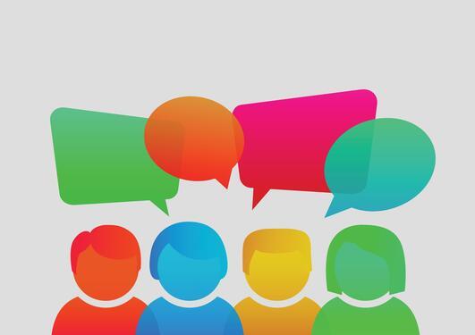 Illustrasjon av mennesker som møtes og snakkes