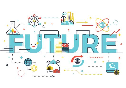 Illustration with word FUTURE in blue and illustrations of education surrounding it