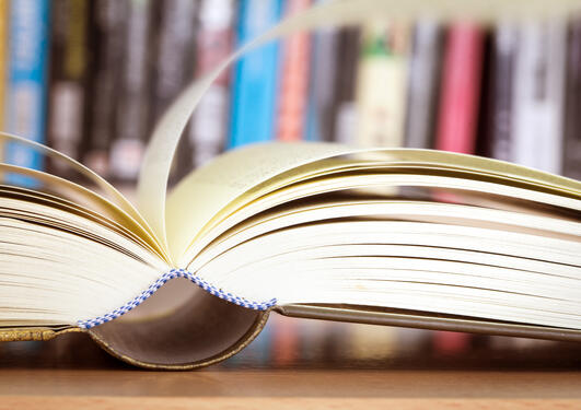 Book opened on its spine