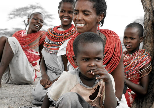African children and mothers.