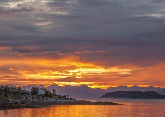 Midnattssol kan være et praktfullt skue – som her fra Altafjorden – men for verdens mest tallrike fiskeslag skaper lyset en barriere mot etablering i nord