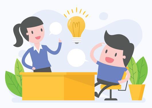 Mann og kvinne som deler ideer