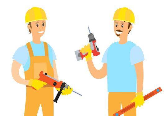 Illustration of two men holding vibrating tools