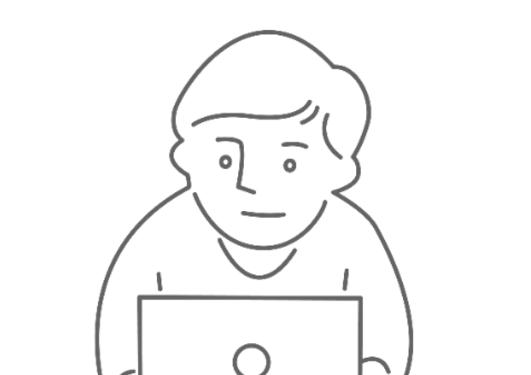 Illustrastjon mann foran laptop