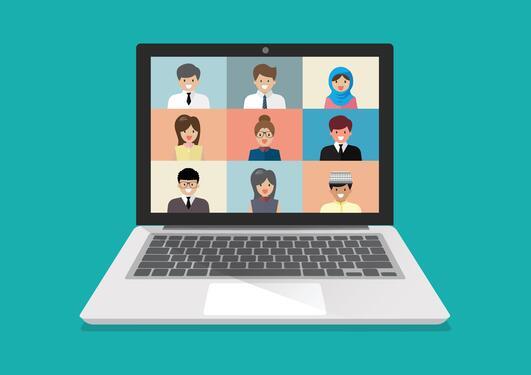 Bildet viser en videokonferanse.
