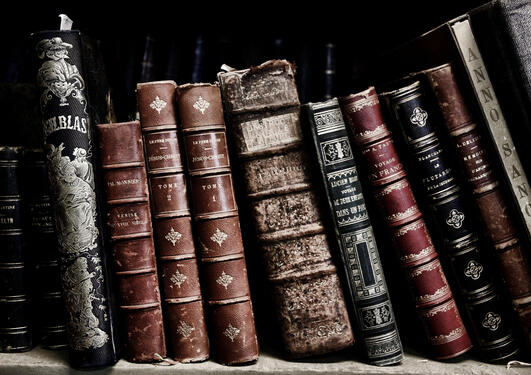 Old books on a book shelf