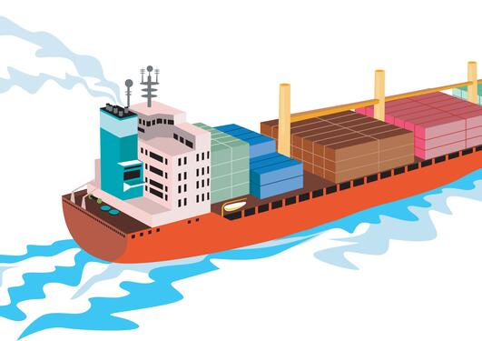 Cargo vessel, graphic illustration, used as part of article on new innovative research centre Maritime SHIFT.