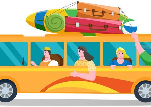 Illustrasjon av buss i fart med glade passasjerer