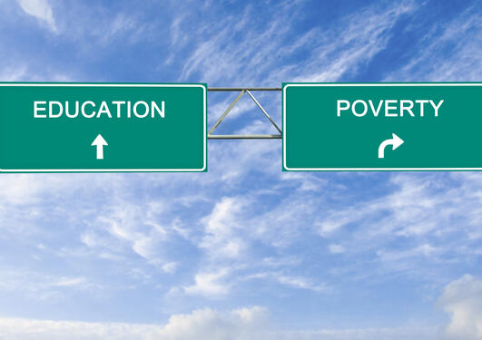 Road signs, one showing education drive straight ahead, the other showing make a right turn for poverty.