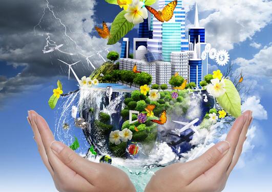 Bildet viser jorden som en biologisk sfære.