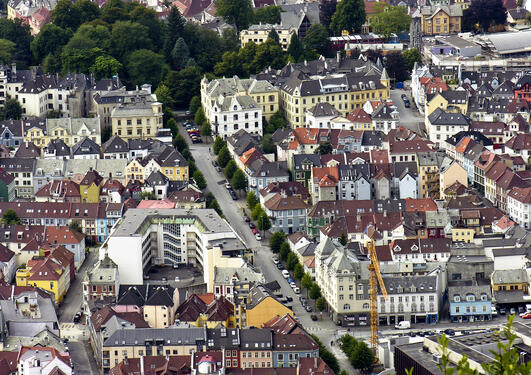 areal image of bergen city centre