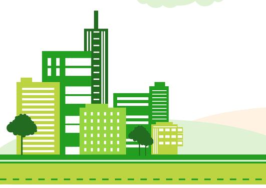 illustration of city skyline is shades of green