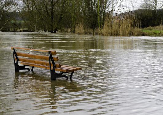 bench in flood