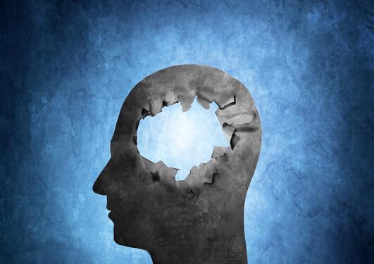 Illustrasjon hode i profil uten hjerne