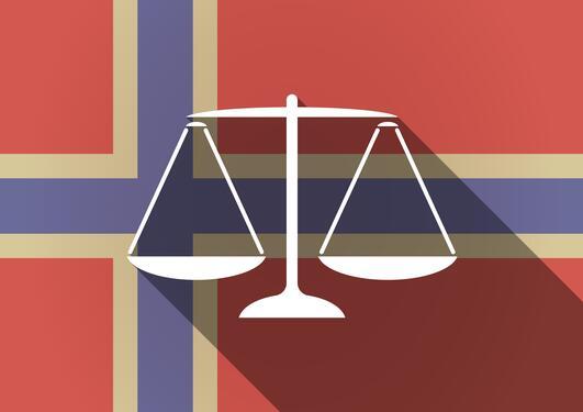 Illustrasjon av norsk flagg med vekt og skygge