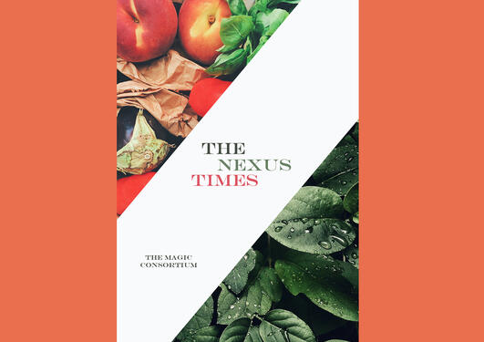 Frontpage of book The Nexus Times - images of fruits, vegs and plants